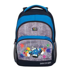 Рюкзак TIGER FAMILY (ТАЙГЕР), 22 л, с ортопедической спинкой для учеников средней школы, серый/синий, 41х33х22 см