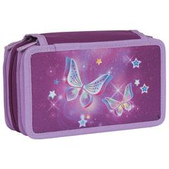 """Пенал TIGER FAMILY (ТАЙГЕР), с наполнением, 3 отделения, 28 предметов, """"Starry Butterflies"""", 20х12х7 см"""