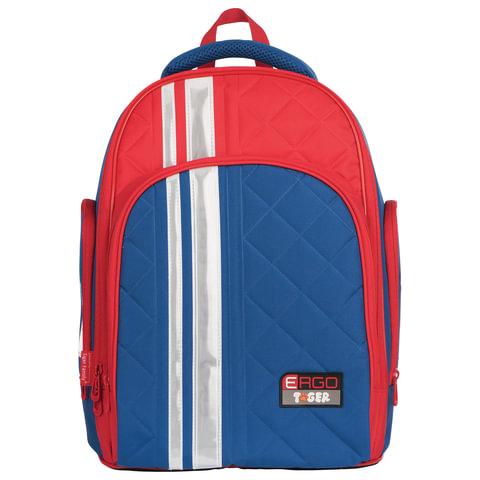 475bbbc94087 Рюкзак TIGER FAMILY (ТАЙГЕР) с ортопедической спинкой для учеников средней  школы, синий/красный, 39х31х22 см
