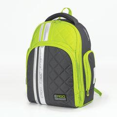 Рюкзак TIGER FAMILY (ТАЙГЕР), с ортопедической спинкой для средней школы, серый/зеленый, 39х31х20 см